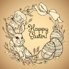 Cake, rabbit and eggs - easter vector hand drawn collage.