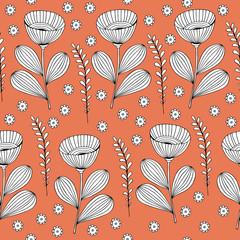 Beautiful monochrome Flowers set, Vector seamless pattern.