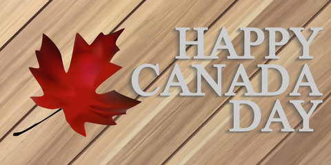 Happy Canada Day Wooden background with maple leafs. Handwritten text. Vector illustration.