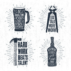 Hand drawn vintage badges set with textured thermo cup, pincers, hammer, and whiskey bottle vector illustrations and inspirational lettering.