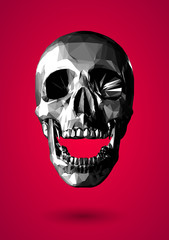 Low poly grayscale 3D skull on red background