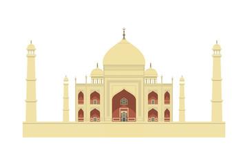 Taj Mahal vector illustration. India travel landmark, famous historical monument. Agra, Uttar Pradesh