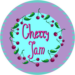 Cherry vectir illustration round cap logo or tag for jam or marmalade
