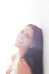 Beautiful Happy Brunette Woman in Lingerie