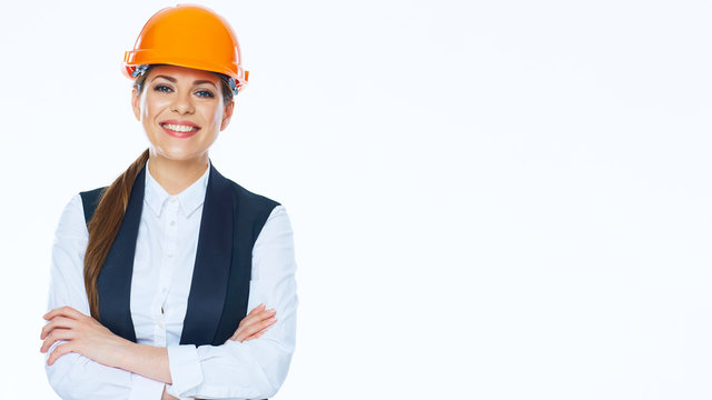 Smiling Business woman engineer isolated portrait