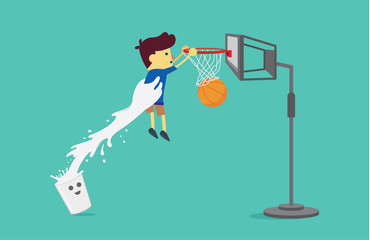 Milk glass lifting a boy to shoot a basketball into the hoop. This illustration about drinking milk.