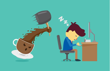 Coffee cup will wake worker up with use hammer smash. This illustration about coffee will wake you up for work and other
