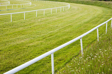 railing bend turn of a horse race track