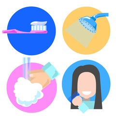 Flat style hygiene icons, vector illustration of personal care