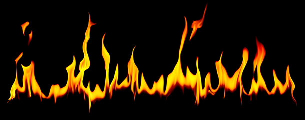Long row of flames over dark background