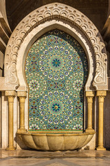 Morocco, Casablanca mosque Hassan II decoration washstand