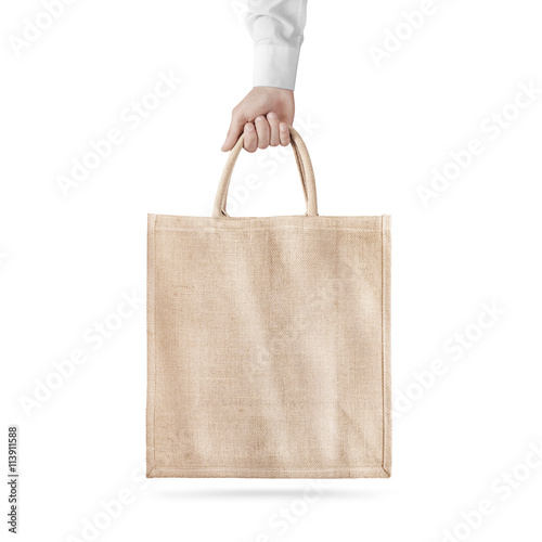 Blank cotton eco bag design mockup isolated, holding hand ...