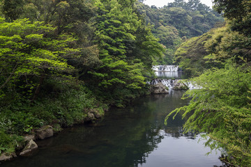 View of Cheonjiyeon River and two small cascades near Cheonjiyeon Falls on Jeju Island in South Korea.