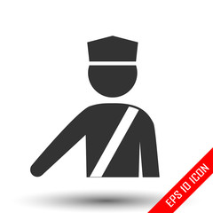 Policeman icon. Officer sign. Simple flat logo of policeman on white background. Vector illustration.