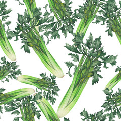 Seamless pattern of watercolor celery