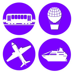 Transport types flat papercut style circle vector illustrations on blue