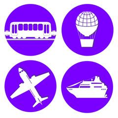 Transport types flat papercut style circle vector illustrations on blue