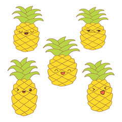 Set of cute pineapples with different emotions for stickers, web, print, decoration, vector illustration