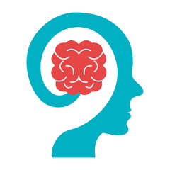 colorful human head with brain icon,vector graphic