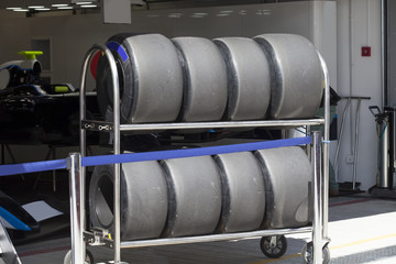 The tires of a racing car F1