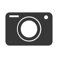 black camera with white circle,vector graphic