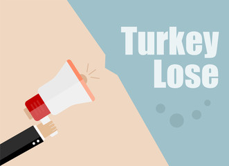 Turkey lose. Flat design vector business illustration concept Digital marketing business man holding megaphone for website and promotion banners.