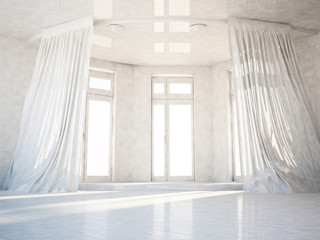empty room with the big windows, 3d