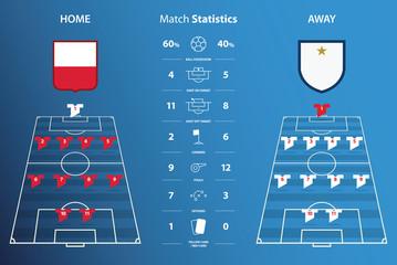 Football or soccer match statistics infographic. Football formation. Football logo. Flat design. Vector Illustration.