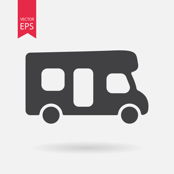 Motorhome icon. Camping sign. Camper van isolated on white background. Flat design style
