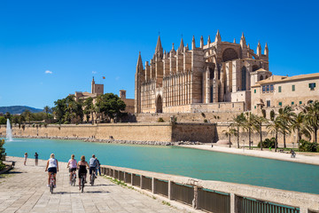 Tourists on bicycles near the main cathedral of Palma de Mallorca