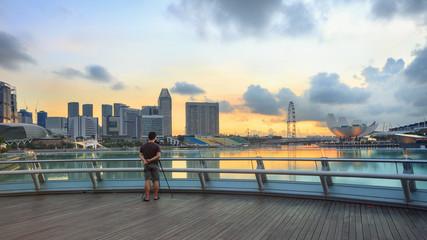 Singapore Marina Bay sunrise with photographer