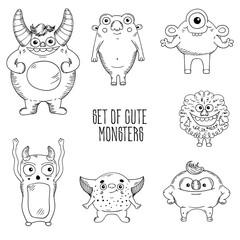 Cartoon cute character Monsters. Vector illustration. Sketch .