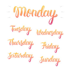 Trendy hand lettering set of days of the week, fashion graphics, art print. Calligraphic colored isolated set. Vector