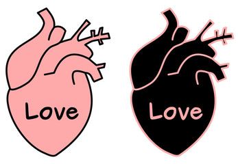 black pink human hearts with love word concept vector illustration