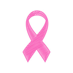 Breast Cancer Ribbon Scribble Style