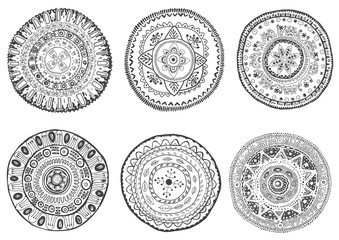 Set of hand drawn mandalas.Can be used for coloring books, tatto
