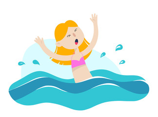 Young girl drowning in water. Emergency situation, accident concept. Vector flat illustration