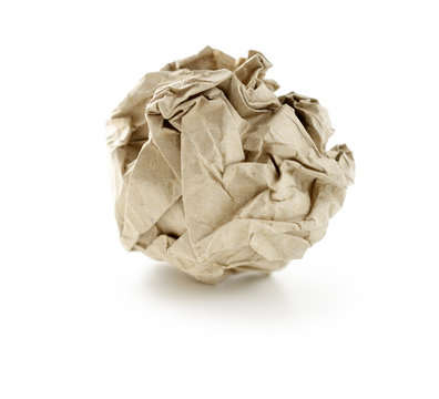 Recycled paper ball. Selective focus