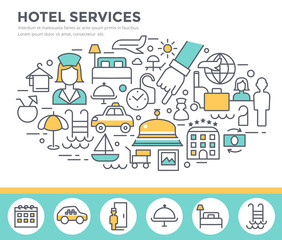 Hotel services concept illustration, thin line flat design vector template