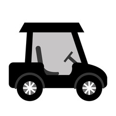 black golf cart with white stripes on the wheels side view over isolated background,vector illustration
