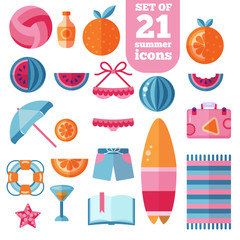 beach summer holiday vacation flat vector icon set
