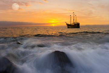 Ocean Sunset Ship Fantasy