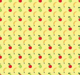 Seamless pattern of fruits on a yellow background