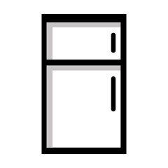 black and white fridge front view over isolated background,vector illustration