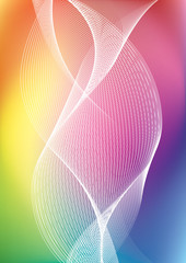 Abstract vector mesh background and twisted white lines , color gradient, vector wallpaper, twisted rainbow