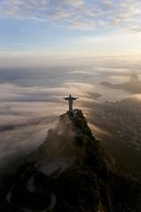 The Art Deco statue of Jesus, known as Cristo Redentor (Christ the Redeemer), on Corcovado mountain in Rio de Janeiro, Brazil.