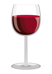 glass of wine  front view over isolated background,vector illustration