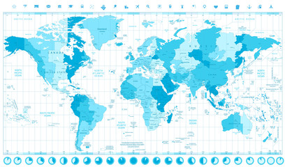 World Map with Standard Time Zones soft tints of blue and clock
