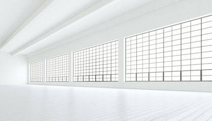 Empty modern industrial room with huge panoramic windows,painted white wood floor and blank walls.Generic design interior contemporary conference hall.Open space business idea.Horizontal.3D rendering.