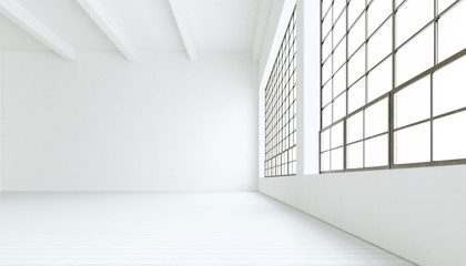 Blank modern industrial room with huge panoramic windows,painted white wood floor,empty walls.3D rendering.Generic design interior contemporary building.Open space business conference hall.Horizontal.